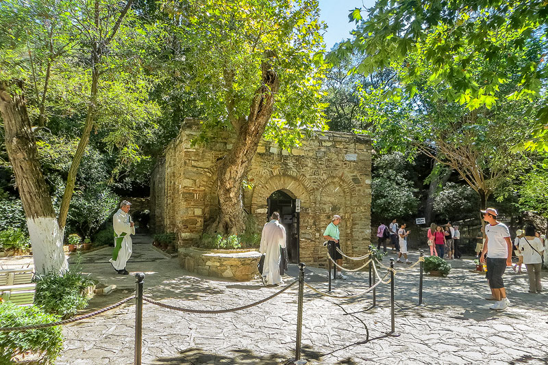 Pilgrims visiting the House of the Virgin Mary near Ephesus