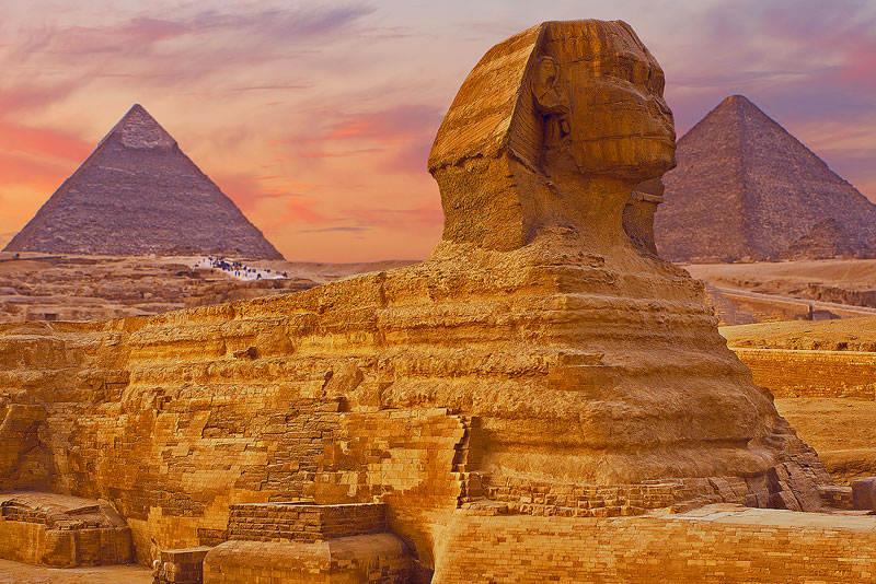 View the legendary Sphinx at Giza on the banks of the Nile River