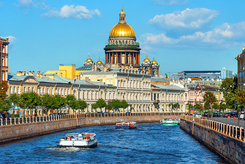 St. Petersburg from Neva River with view of St. Isaac Cathedral