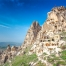 Uchisar Castle in Cappadocia overlooks the entire Goreme Valley