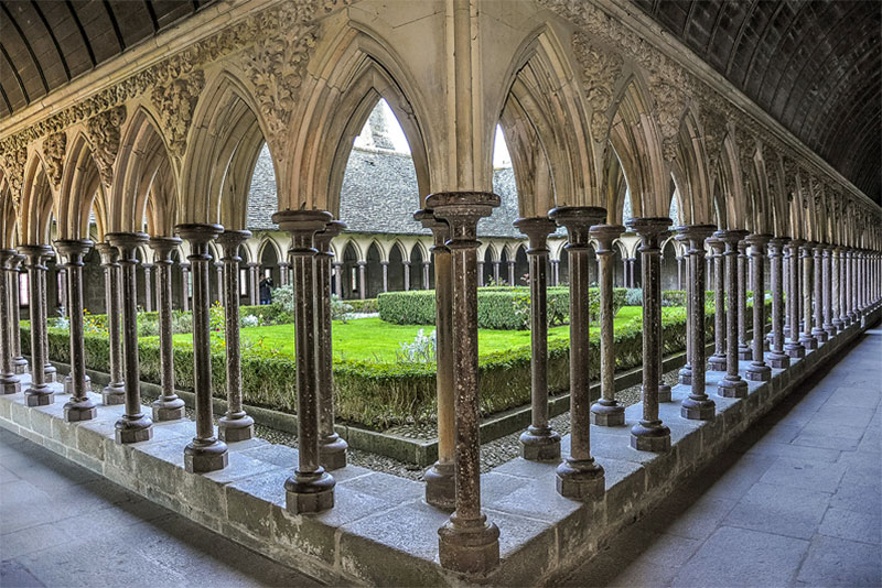 Mont Saint-Michel's cloister has striking Romanesque arches