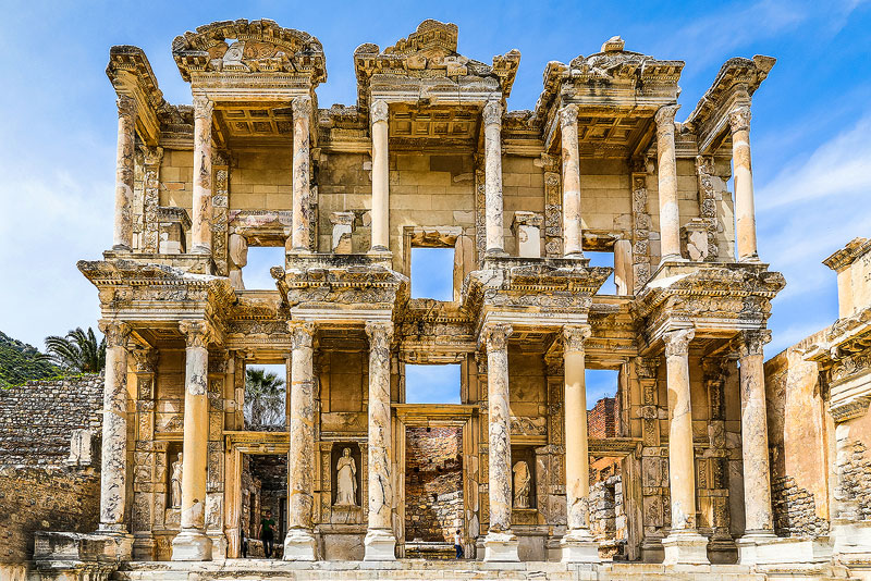 The Library of Celsus is the highlight for tourists visiting ancient Ephesus