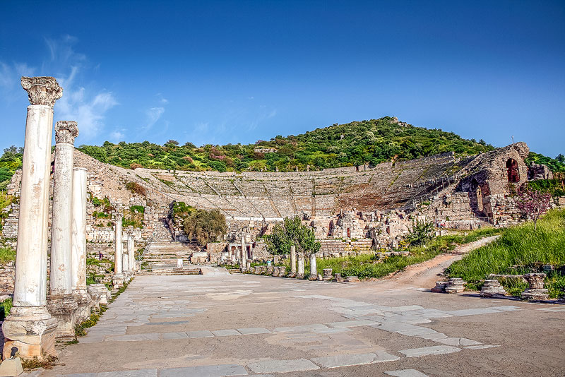 The Great Theater is a stadium still in use. Those visiting ancient Ephesus can walk the steps.